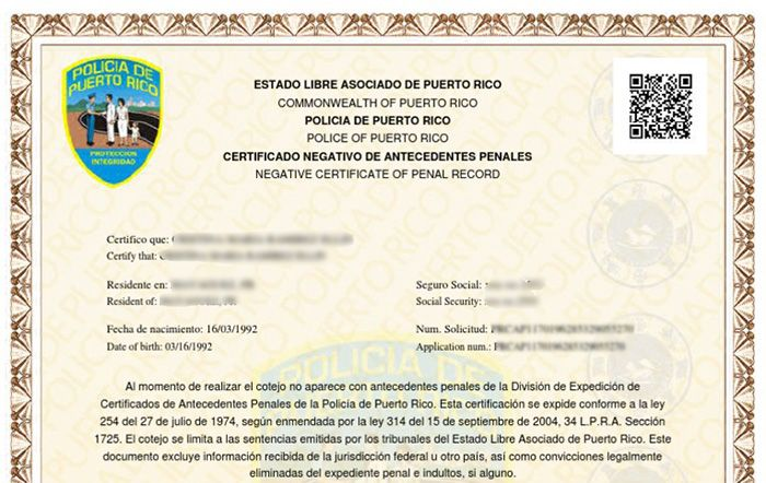 certificado de buena conducta pr