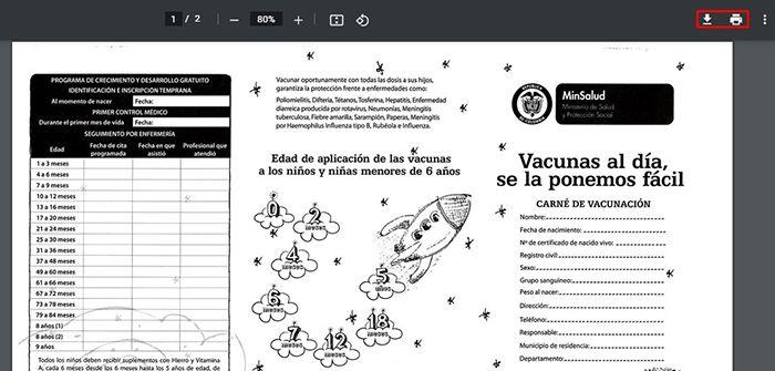 imprimir carnet de vacunas colombia