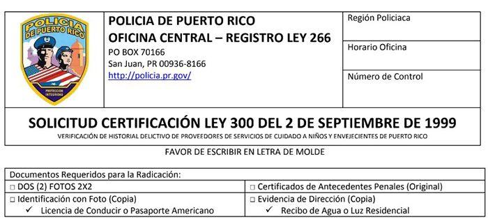 solicitud certificacion ley 300 online