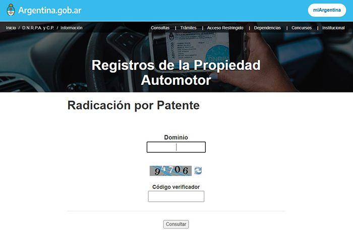 informe de dominio automotor por patente gratis