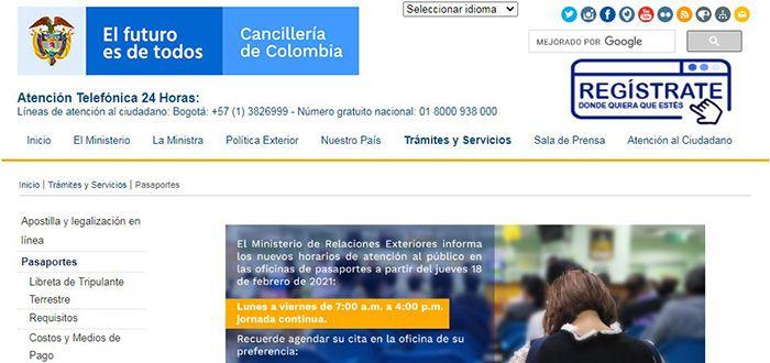 cuanto vale renovar el pasaporte colombiano