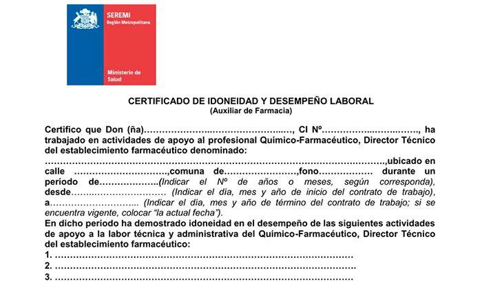 certificado de idoneidad laboral
