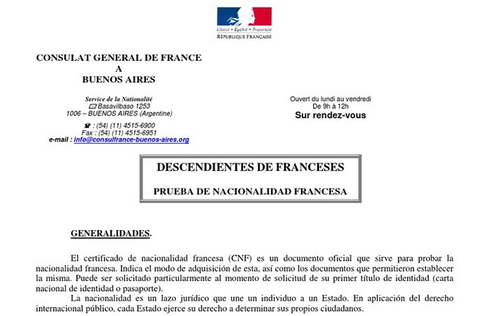 certificado de nacionalidad francesa