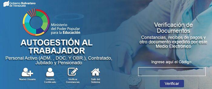 consulta de recibo de pago del ministerio de educacion venezuela